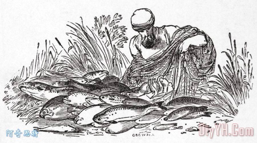 手绘渔夫小船图片