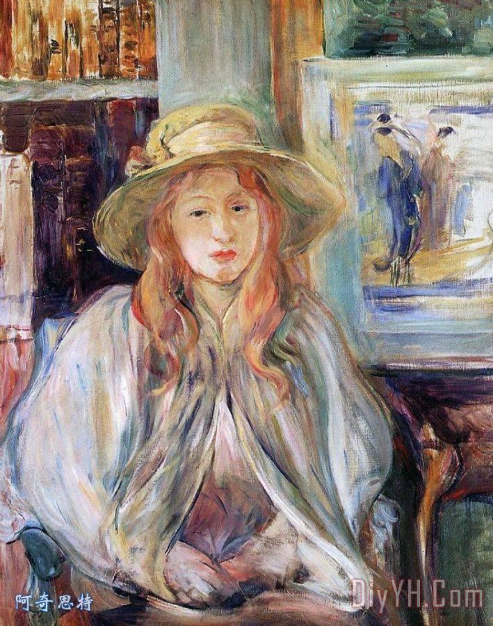 马奈朱莉带着草帽 - 贝尔特·莫里索马奈朱莉带着草帽装饰画