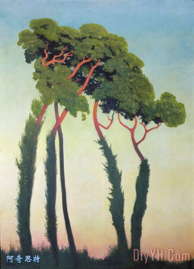 有树的风景装饰画