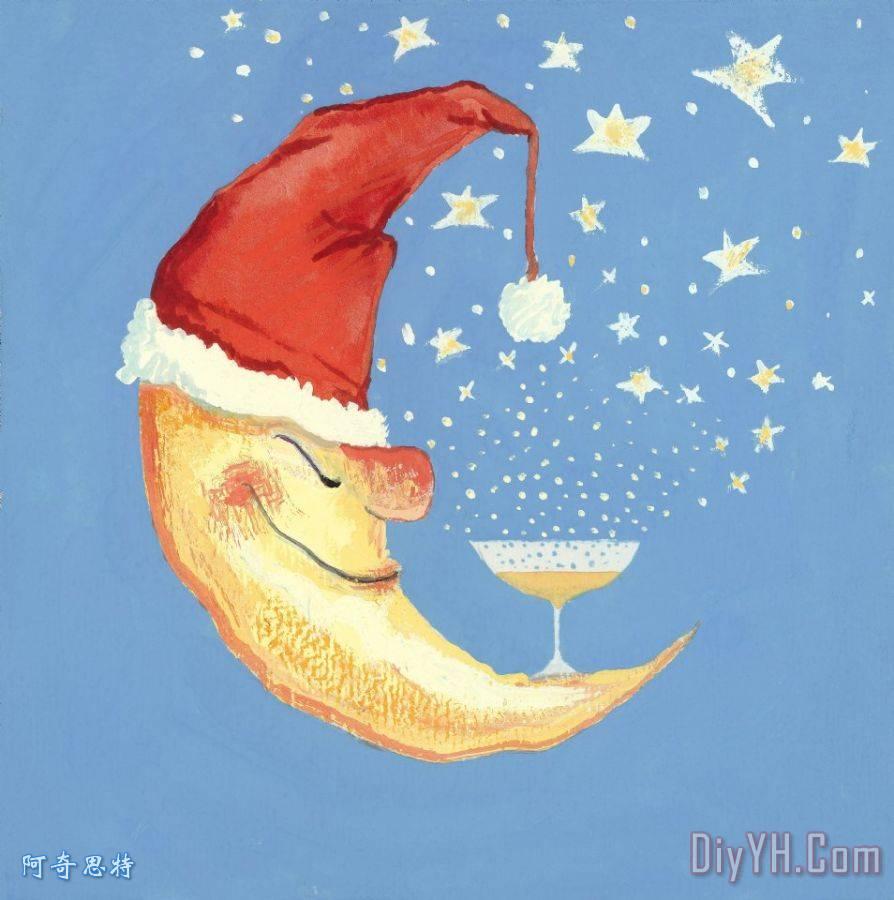天真活泼的圣诞月亮装饰画