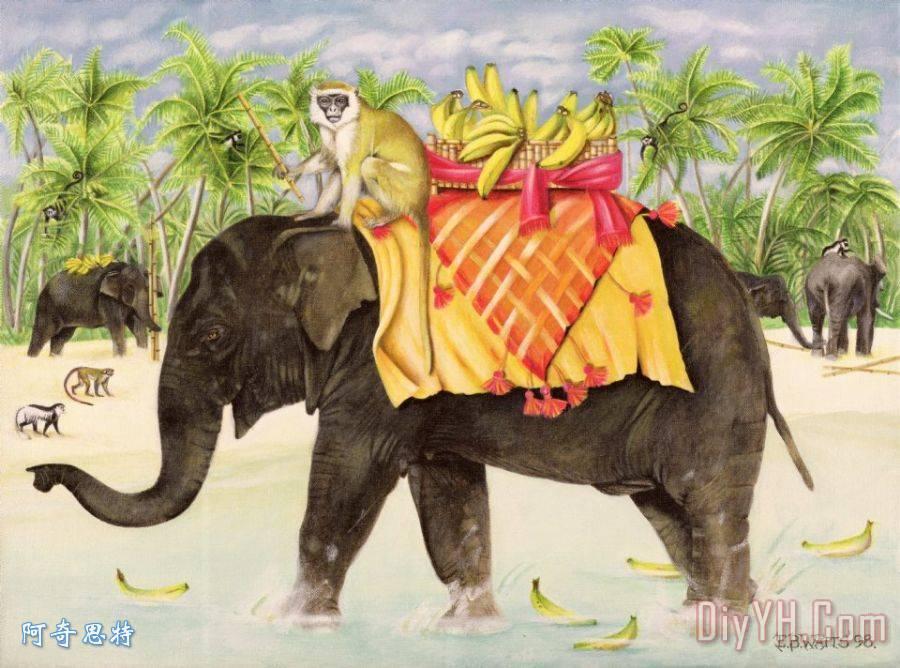 大象香蕉装饰画