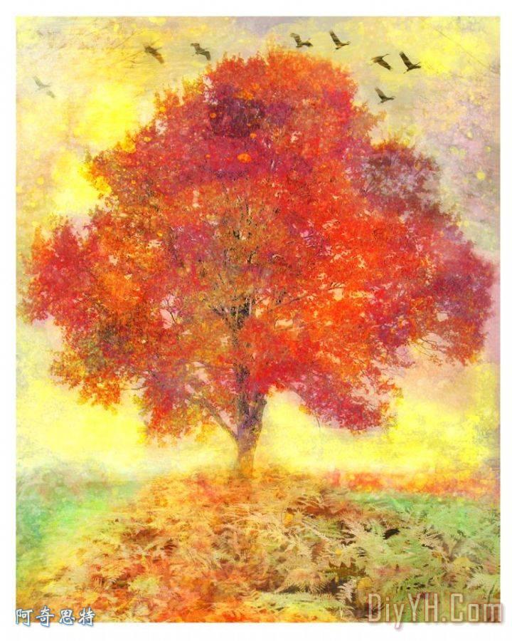 秋天的树装饰画