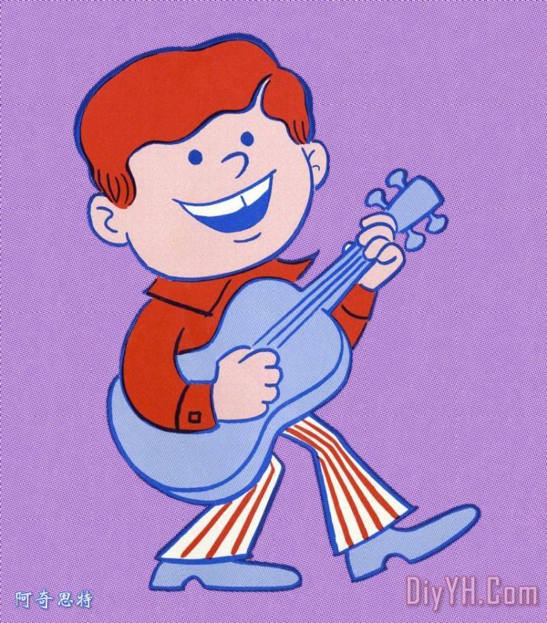 男孩弹吉他装饰画