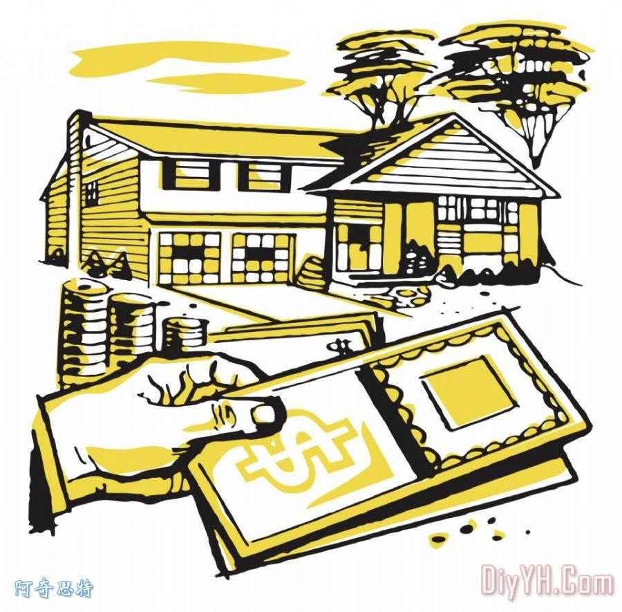 房子和金钱装饰画