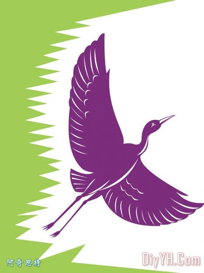 鹭鹤飞复古装饰画
