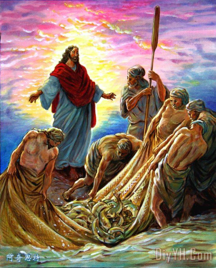 耶稣出现在渔民装饰画   耶稣出现在渔民油画定制