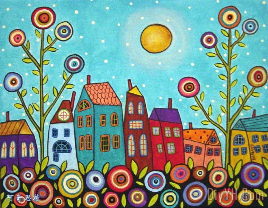 房子花朵和一个月亮装饰画