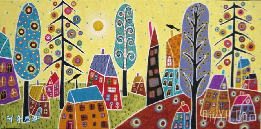 房子树太阳鸟装饰画