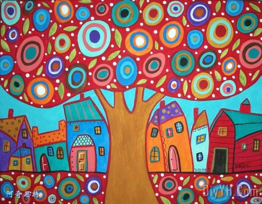 红色的树装饰画