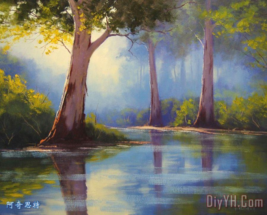 河边胶树装饰画