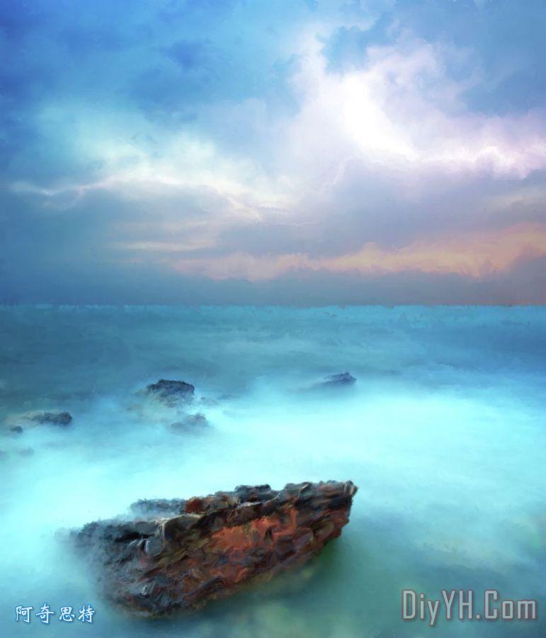 海天空和石头装饰画
