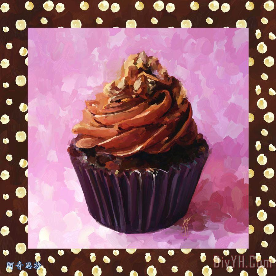 巧克力蛋糕带边框装饰画