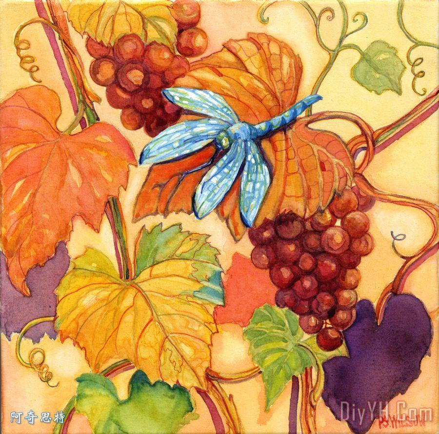葡萄和蜻蜓装饰画 | 葡萄和蜻蜓油画定制