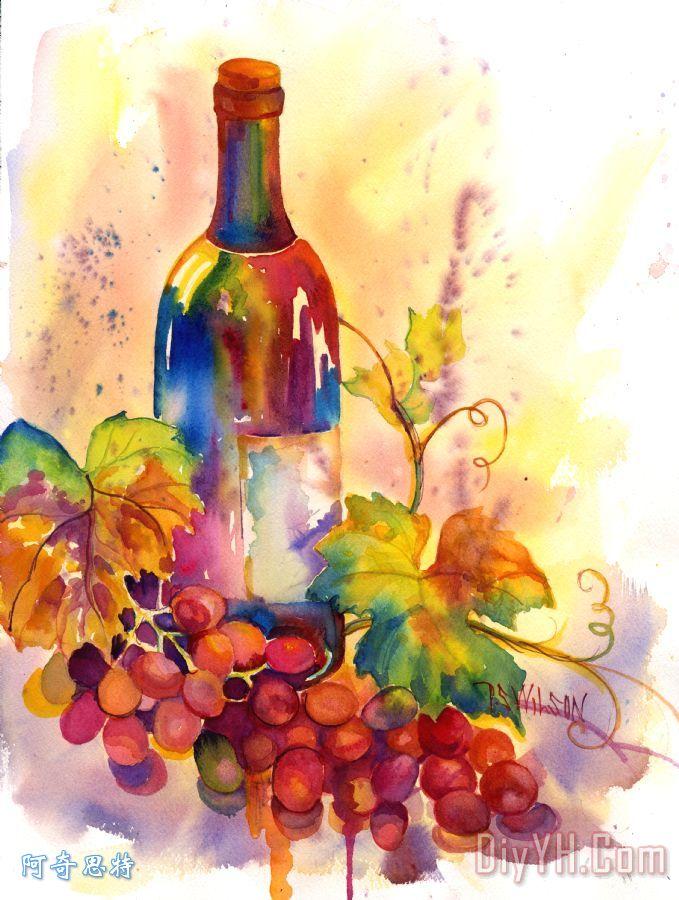 水彩葡萄酒装饰画