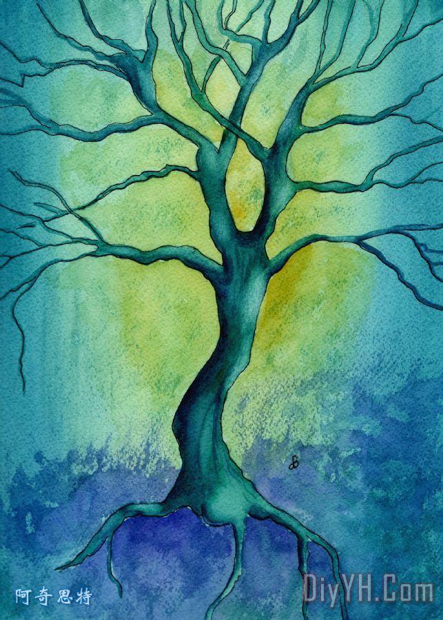 最后站在树装饰画