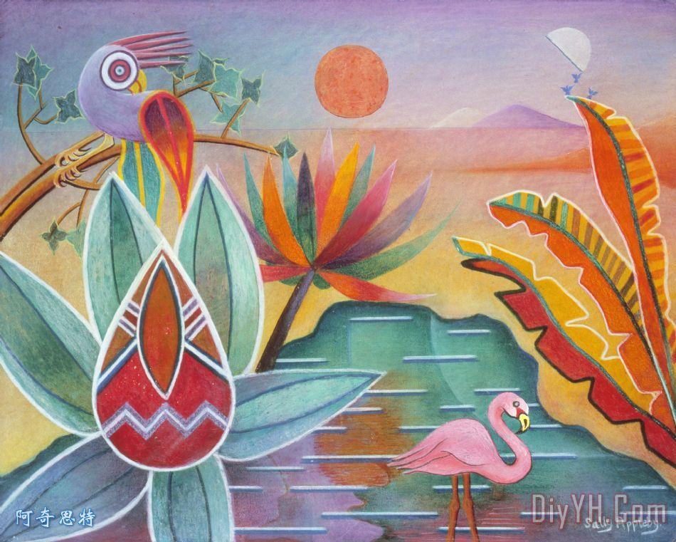 火烈鸟绿洲装饰画