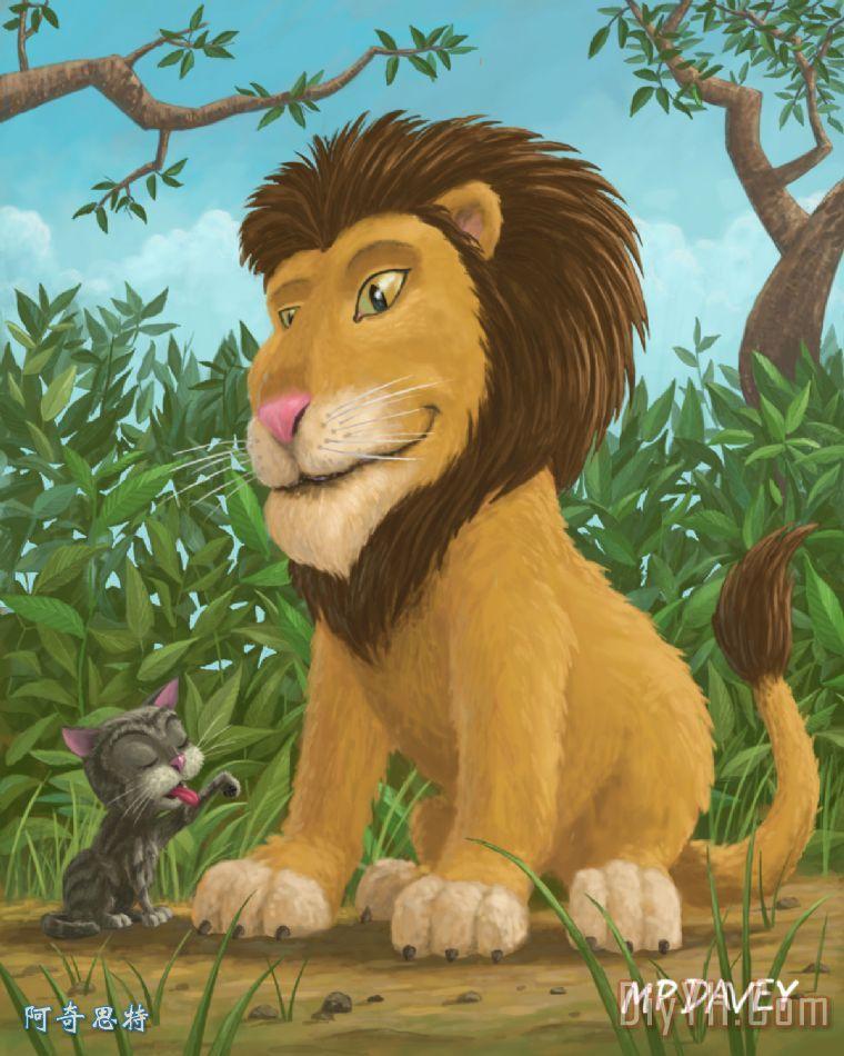 大狮小猫咪装饰画 | 大狮小猫咪油画定制 | 阿奇思特