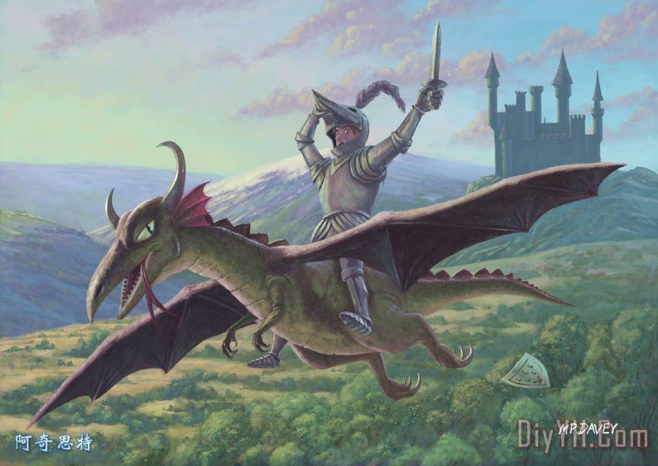 骑士骑着飞龙装饰画