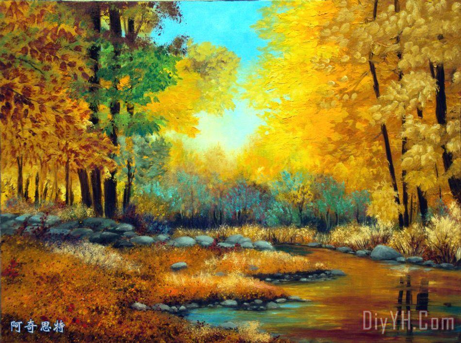 秋天的森林小溪装饰画图片