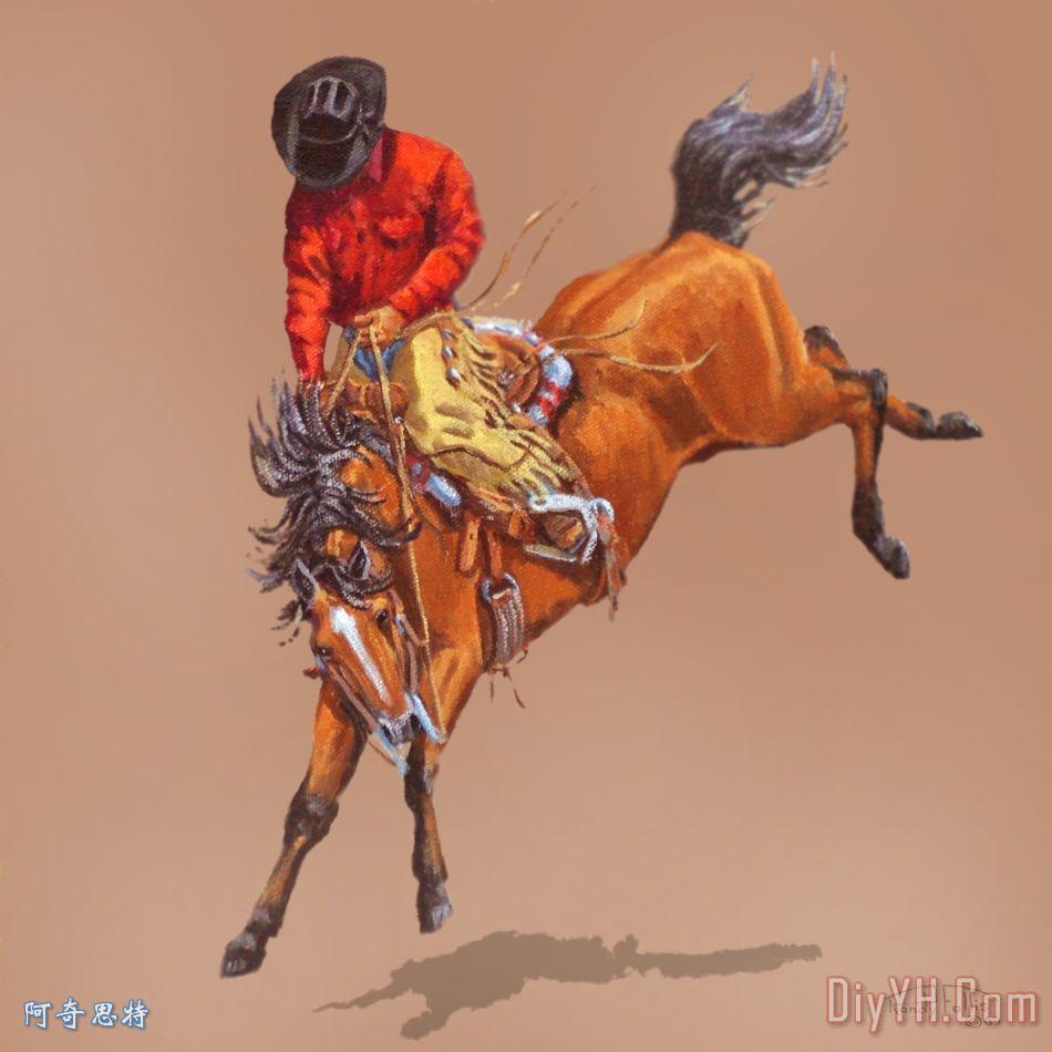 牛仔在一个屈曲马装饰画