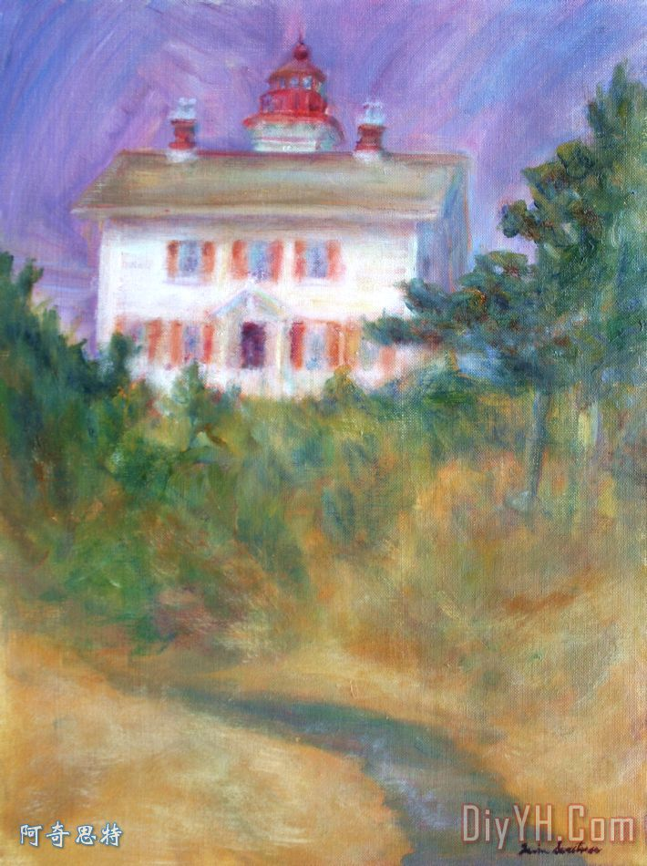 灯塔上的山 - 灯塔绘画装饰画