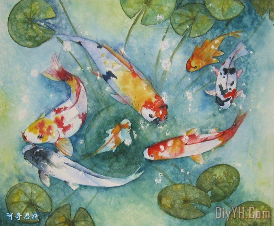 锦鲤与百合装饰画