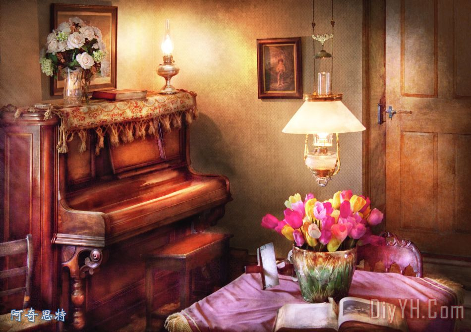 音乐钢琴的音乐室装饰画