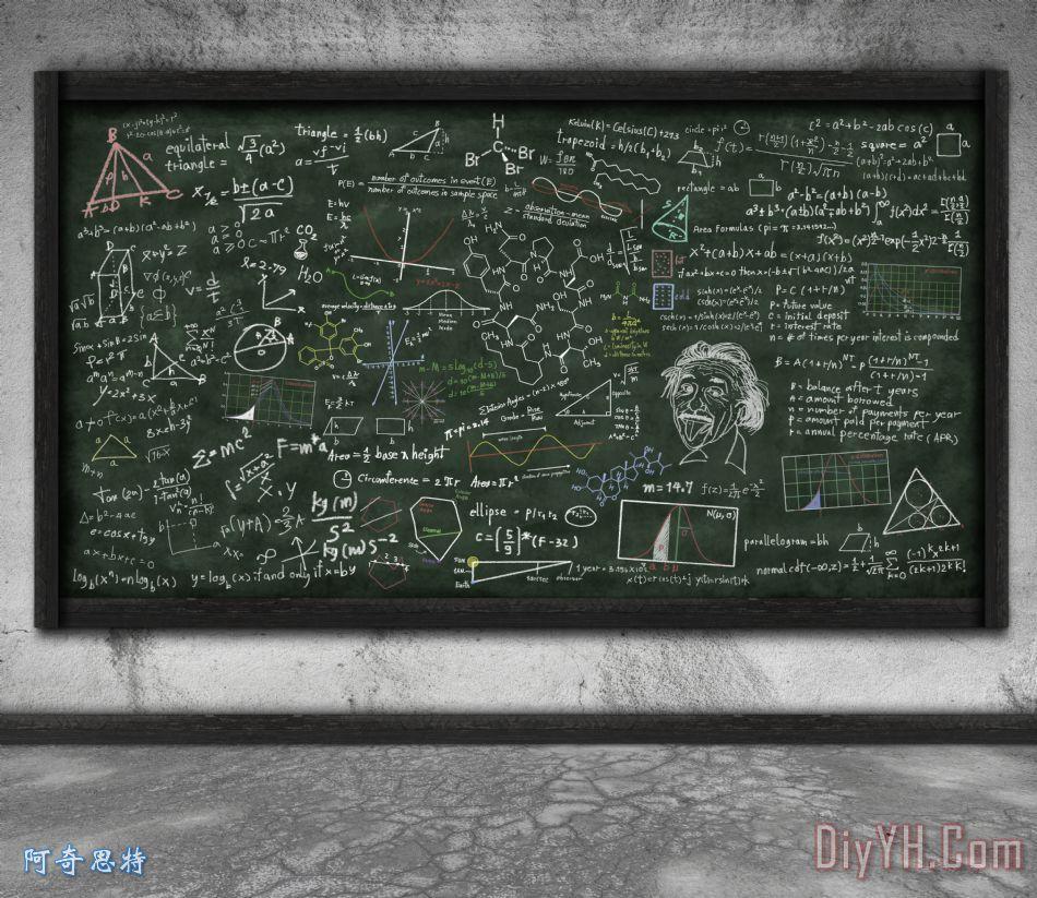 数学公式的黑板装饰画