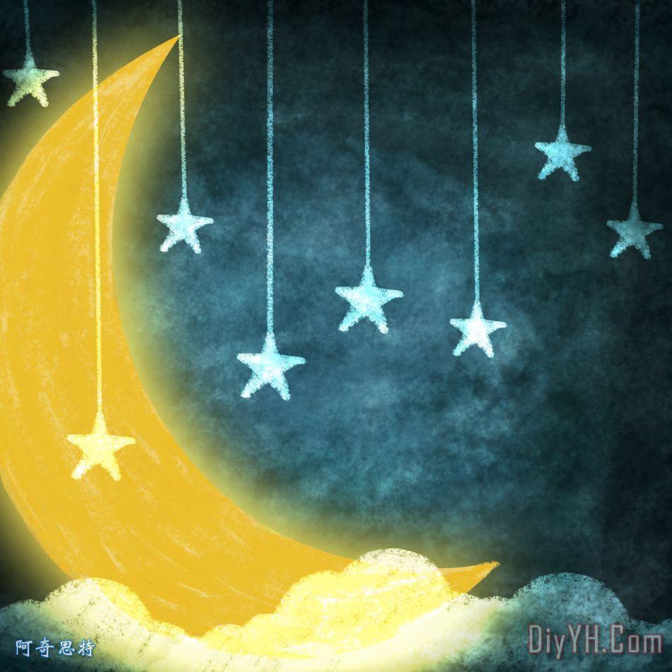 月亮和星星 - 月亮和星星装饰画