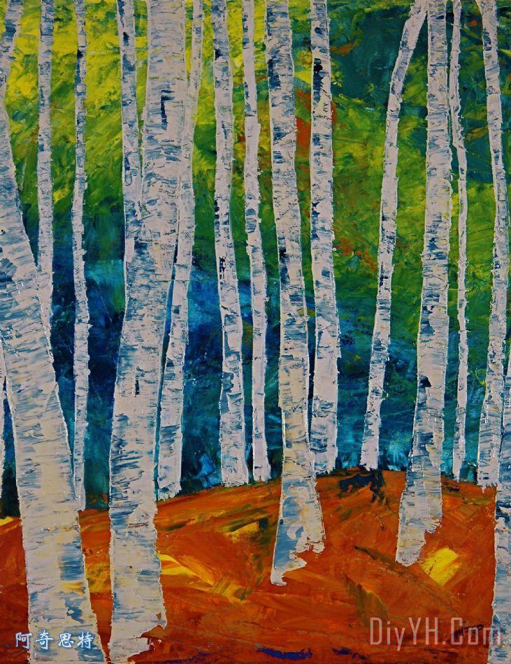 白桦树林装饰画_风景_抽象_森林_树木_图片大全