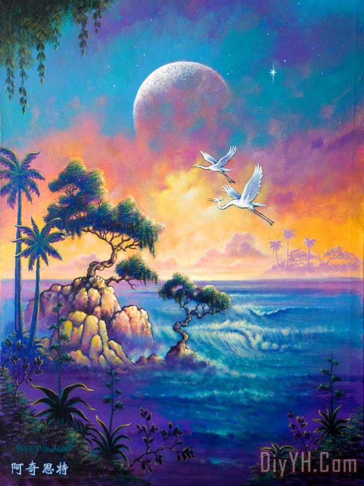 白鹭月亮装饰画