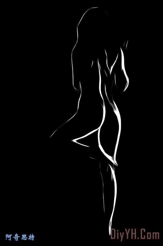 裸体在白色和黑色装饰画   裸体在白色和黑色油画定制