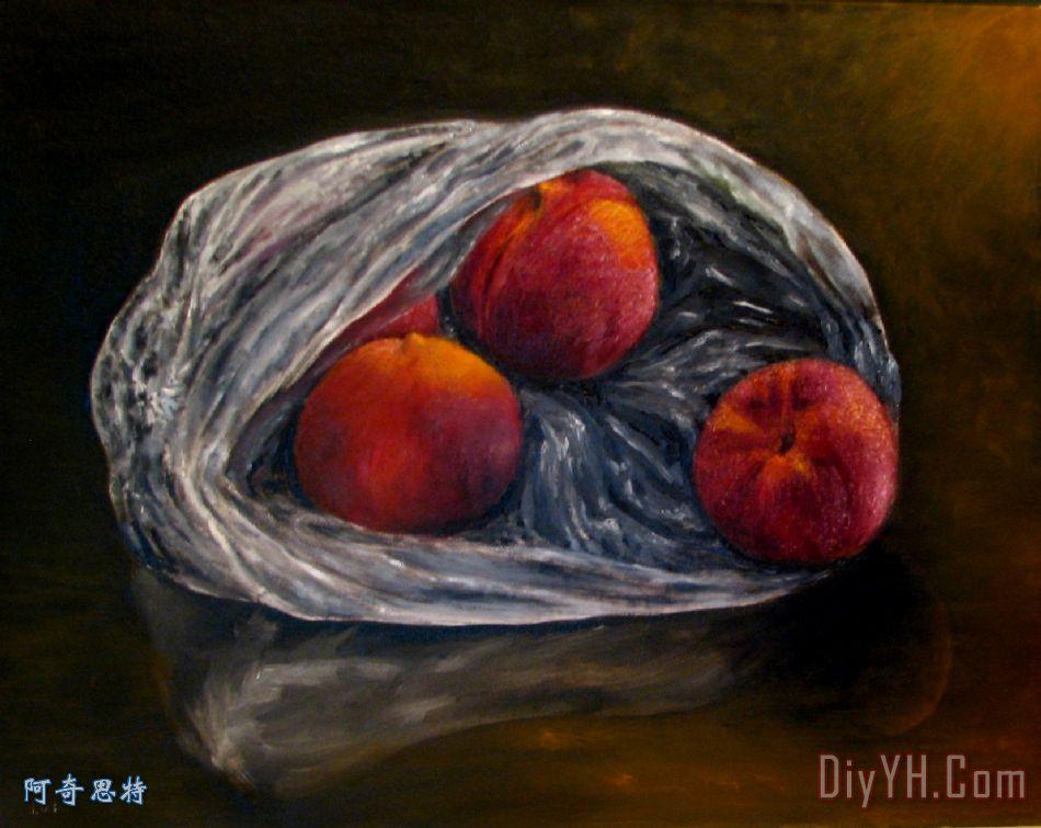在塑料袋油画桃子装饰画