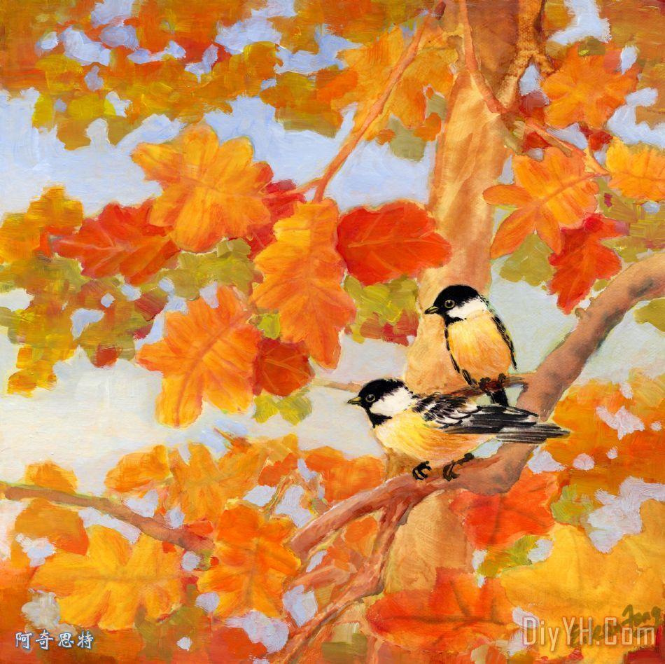 山雀与橡树叶装饰画