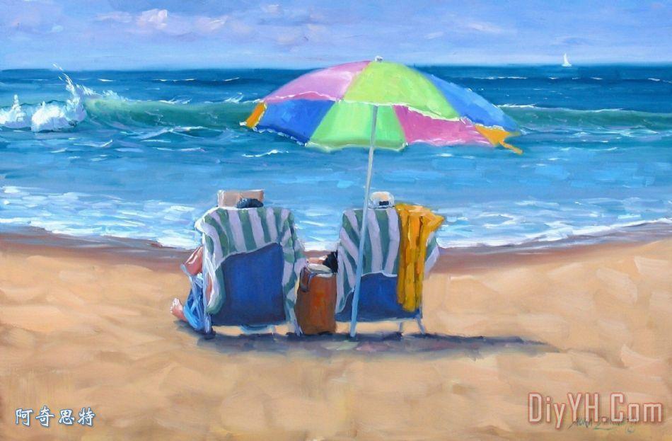 海边太阳伞装饰画