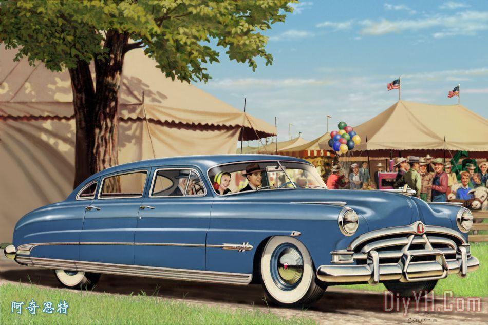 1951年哈德逊大黄蜂公平美洲古董车汽车怀旧的乡村,国家现场山水画