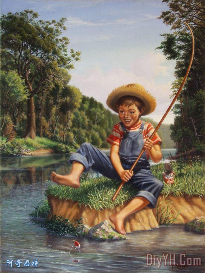 小男孩钓鱼美洲河乡村质朴怀旧的美国国家现场打印装饰画