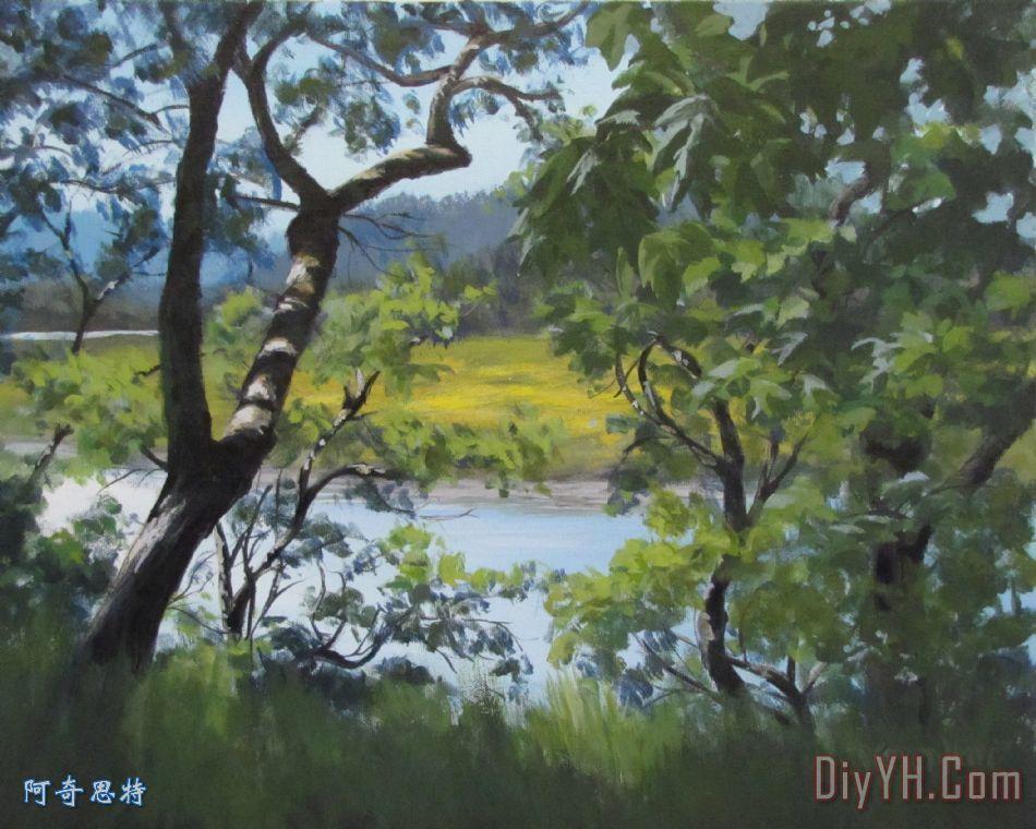 阳光灿烂的河装饰画_风景_小溪_夏天_树木_水_图片
