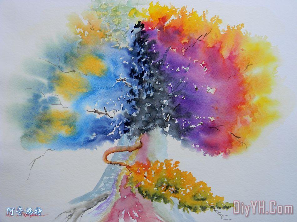 水彩画活橡树装饰画