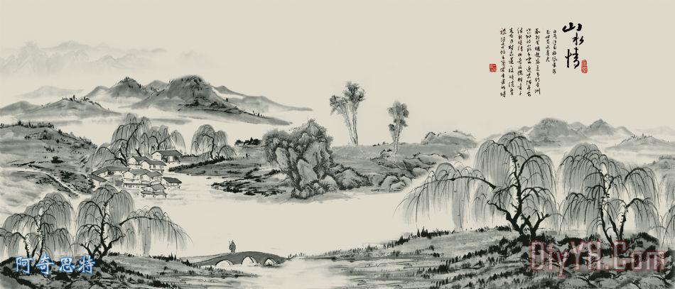山水画 国画 水墨 水墨山水画 群山 小桥流水人家  相关分类:风景美克
